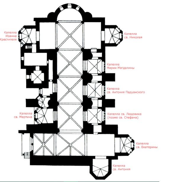 План Нижней церкви в Ассизи